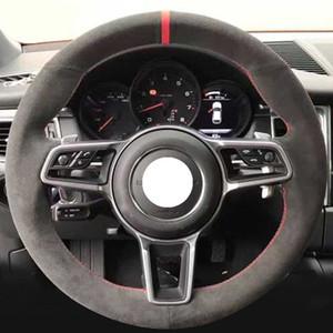 Cubierta de rueda cosido a mano de piel coche por un Porsche Cayenne Panamera Macan 911 996 997 959 Boxster Cayman 15 pulgadas 38cm