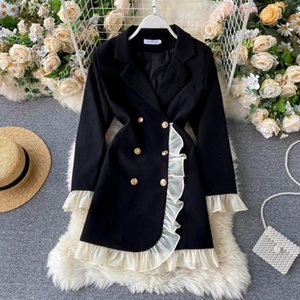 Design dress V-neck irregular fake two-piece double-breasted suit wooden ears ruffles long-sleeved early autumn blazers