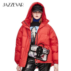 JAZZEVAR Winter New Fashion Street Designer Brand Womens White Duck Down Jacket Pretty Girls Outerwear Coat With Belt 201203