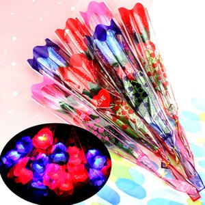 LED Light Up Rose Gift Flower Party Supplies Decorations Simulation Rose Glowing Valentines Day Wedding Decoration Fake Flowers LLA183