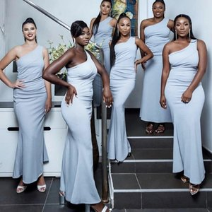 Dusty Blue Bridesmaid Dresses 2021 African Plus Size Mermaid One Shoulder Ankle Length Custom Made Pleats Ruched Maid of Honor Gown vestidos