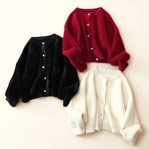 H.SA Women Fall Cardigans Fake Fur Short Sweater and Ponhoes Long Sleeve Short Crop Cardigans Mohair White Knitting Jacket 201130