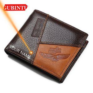 Gubindu carteiras de couro genuíno couro curta cartão titular de cartão de bolso masculino bolsa de alta qualidade marca macho carteira q0112