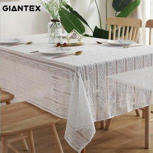yxlfvz Estilo Europeu Giantex laço branco translúcido oco Out Crochet Decoração retangular Toalha de Mesa Decoração do casamento