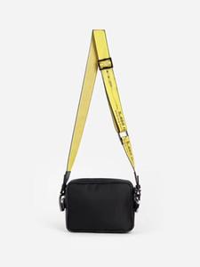 العلامة التجارية البسيطة الرجال قبالة قماش الأصفر حزام عالية الأبيض الكتف حقيبة كاميرا حقيبة الخصر أكياس متعددة الأغراض حقيبة الكتف حقيبة رسول المرأة