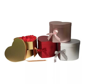 Heart Shaped Double Layer Rotate Flower Chocolate Gift Box DIY Wedding Party Decor Valentine Day Flower Packaging Case SN5066