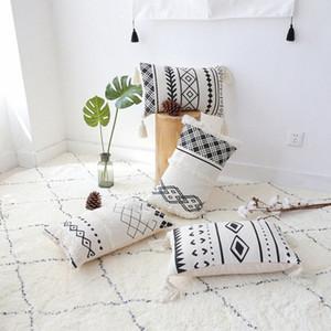 50x30cm المغربي أسود أبيض مطرز الهندسية المخدة صوفا معنقدة غطاء وسادة أسفل الظهر وسادة غطاء للحصول على IzeS مسند #