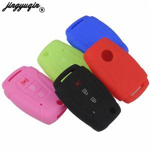 jingyuqin 3 Botão Virar Silicone Folding Car Key Case Titular Remote Cover Protect para Ssangyong 2015 2016 Tivoli Rexton Korando Ut93 #