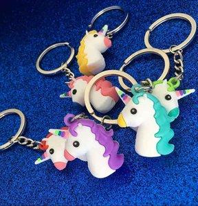 Unicorn Anahtarlık Mavi Yeşil Kırmızı Renk Yumuşak PVC At Pony Unicorn Anahtarlık Zincirleri Çanta Hip Hop Takı Drop Shipps2214
