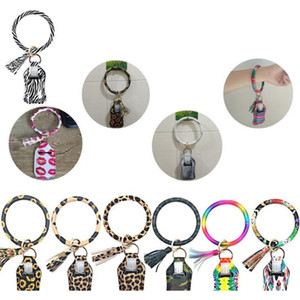 Neoprene Hand Sanitizer Bottle Holder Keychain Bags Key Rings Hand Soap Bottle Holder Printed Chapstick Holder Party Favor OOA8315
