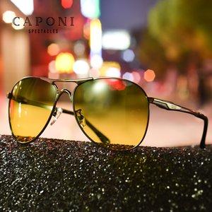 CAPONI verde gafas de sol amarillas Hombres visión diurna y nocturna Avaiton Gafas de sol Hombre del metal de la conducción Eyewear UV400 RY8722
