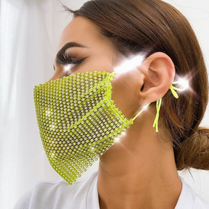Mesh flash rhinestone for women trendy holloween mask senior luxury jewelry VIQ2