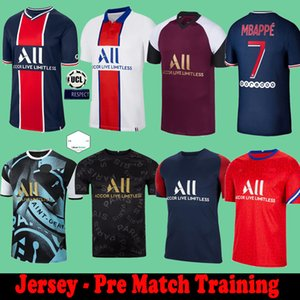 Maillots de Football Paris Pre Match 훈련 Florenzi 20 21 축구 유니폼 2020 2021 MBappe Icardi Camisetas de Futbol Neymar Shirt JR 세트