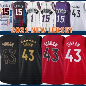 2021 Новый Винс 15 Картер Баскетбол Джерси Паскаль 43 Siakam Mens Kyle 7 Lowry Mesh Ретро Трейси 1 McGrady Youth Kids Marcus 21 Camby Brown