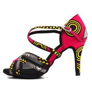 Dance Shoes New Women Red African Print 3inch Satin Salsa Ballroom Latin Dance Shoes for girls evk492 201017