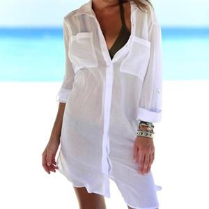 KLV Womens Beach Shirt Thin Swimsuit Bikini Cover Up Robe Tunic Shirt V-Neck Summer Solid Boyfriend Style White Green Black1