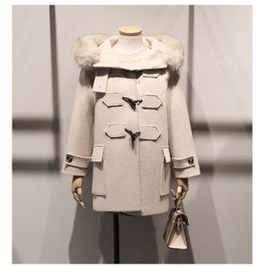 Новая теплая шерстяная куртка для зимнего длинного рога с капюшоном с капюшоном, кнопка широко-талии бежевый пальто повседневная China (Mainland) зимнее пальто Женщины 201102
