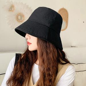 COKK cappello della benna di estate delle donne coreane Pescatore Black Hat Sun Protection Casual Cappelli delle signore di stile del Giappone Panama Cap Gorros Flat Top 201009