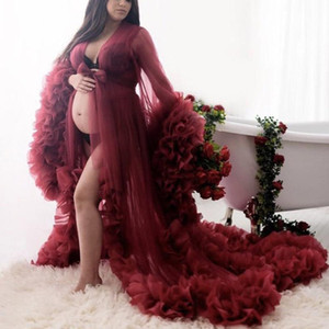 2021 Sexy Burgundy Bridal Fluffy Tulle Robes Custom Made Maternity Tulle Dressing Gown For Photo Shoot Women Long Sheer Tulle Dress