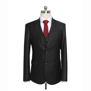 western style clothes menswear fleece worsted solid color wedding celebration black commercial British composite slim gent