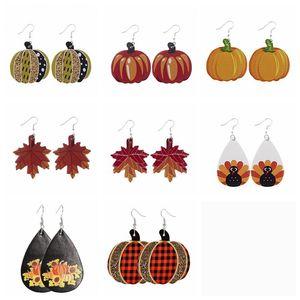 Женщины серьги День благодарения Кожа серьги Halloween кожа серьги Pumpkins Water Drop серьги Party Favor OWB2619