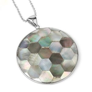Round Geometric Pendant Natural Shell Necklace Hexagon Mother of Pearl Seashell Suspension for Women Men Retro Jewelry