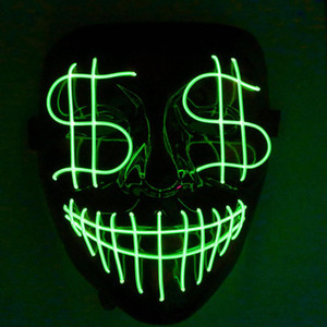 Halloween Noël Leading Night Light Mask Dollar Grimace Sanglante El Party Line Masque Club Bar Dj Lumière masque complet Led couverture
