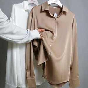 WviOce otoño moda botón arriba satén mujeres blancas tops de seda camisa vintage blusa dama mangas largas sueltas camisas