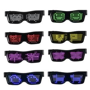 Padrão Óculos Partido Bluetooth mágica APP Controle Luminous Óculos customizável Projetado DIY Editar Multi-lingual rápido flash LED AHF2122