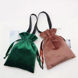 15x20cm Velvet Candy Boxes Kawaii Handbags 2Pieces Per Lot Velvet bag Jewelry Packing Drawstring Pouches Gift Cases Dec