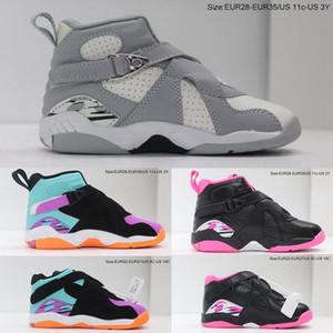 Bebek Basktball Sneaker 8 S VIII Pinksicle Siyah Beyaz Pembe Mavi Serin Gri Küçük Çocuklar Çocuk Erkek Kız Sneaker Toddlers Jumpman 8s Ayakkabı
