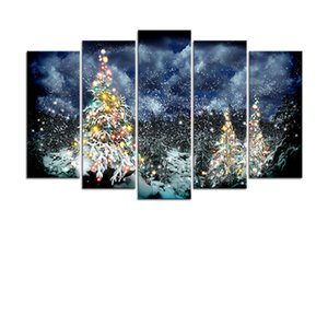 Picture Frame Home Decoration Printing Poster 5 Pieces Christmas Carol Snow Wall Art Canvas Painting Peng Da XMA0030