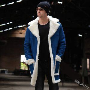 Mens Lambswool-Revers-Neck Mäntel Langarm-Plus-Velvet-Winter-lange Mäntel Männlich Warm Tasche Kleidung