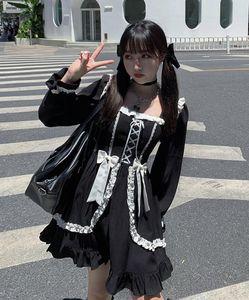 Dress Girl Patchwork Vintage Designer Mini Dress Japan Style Kawaii Clothes Fall Dresses for Women 2020