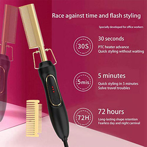 Hot Comb Hair Straightener Flat Irons Straightening Brush Heating Comb Hair Curler Comb Beard Straightener for Women and Men