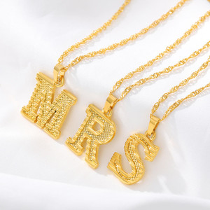 Initial Letter Pendant Necklace 18K Gold Plated A-Z Capital Letter Charm Necklace Mens Hip Hop Jewelry Womens Chain Gift