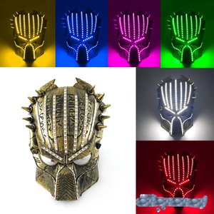 2020 hot sell Halloween Face Mask 6 colors predator luminous led mask 5V movie theme cosplay props Designer Face Masks GWC2520