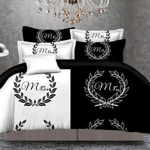 Black&White Her Side His Side Bedding Sets Queen Size Double Bed 3pcs Bed Linen Couples Duvet Cover Set