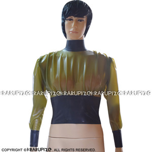 Transparent Green And Black Trims Sexy Short Latex Blouse With Back Zip Rubber Shirt Top Clothes 0142