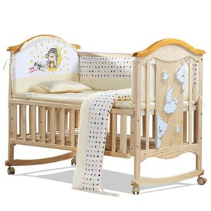 الطراز الأوروبي البيئية سرير الطفل متعدد الوظائف سرير الطفل الخشب الصلب مهد المتداول روضة للأطفال سرير لحديثي الولادة