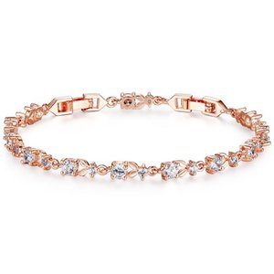 DISINIYA 6 Colors Luxury Rose Gold Color Chain Link Bracelet for Women Ladies Shining Cubic Zircon Crystal Jewelry SJIB00013
