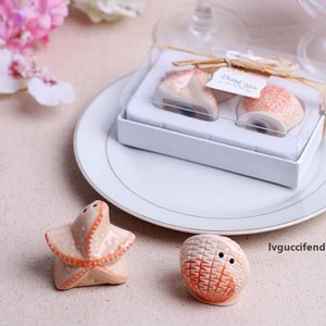 Apple Pea Starfish Shell Ceramic Salt And Pepper Shaker Beach Party Favor Souvenirs Wedding Christmas Gift ZA1227