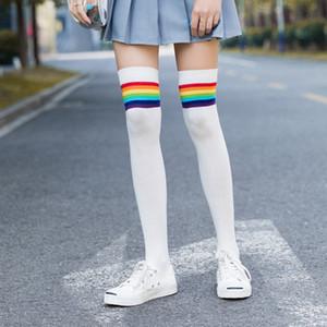 Jeseca arc-en-rayé Femmes Bas College School Les étudiants Genou Japan Style Cute Girls Cuissardes Chaussettes
