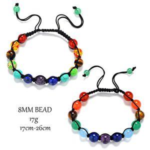 13 8MM woven seven-color rainbow healing reiki stone seven chakra bracelet prayer balance beads bracelet 2 designs optional