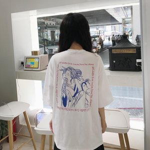 2020 New Fashion Printed Letter Simple Vintage Special Loose Casual Overrsize Short Sleeve Female T shirts