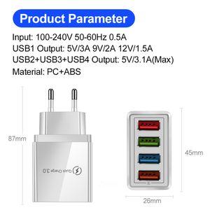 Free shipping Smart travel phone Charger EU Plug us Plug Quick Charging 4USB multi-port 45W