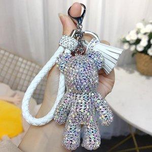 bande dessinée créative complète diamant ours houppe voiture trousseau pendentif mignon sac mâle et femelle porte-clés mignon cadeau cadeau de Noël EWB2453