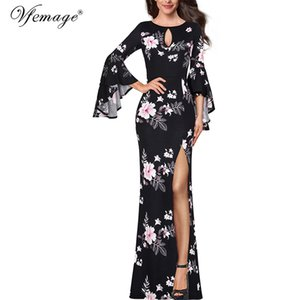 Vfemage Womens Keyhole Front Floral Lace Flare Bell Sleeve Formal Evening Wedding Party Special Occasion Bodycon Maxi Dress 2376
