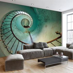 3D Stereo Fotoğraf Duvar Kağıdı 3D Duvar Resimleri Masaüstü Bilgisayar Duvar Resimleri Avrupa için Retro Metal Merdiven Yatak Odası Duvar Kağıdı KTV Bar