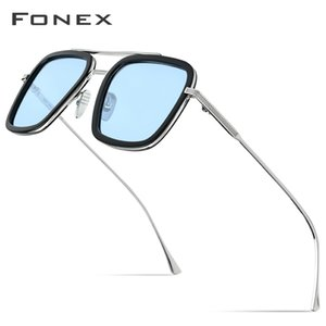 FONEX Pure Titanium Acetate Polarized Sunglass Men Retro Tony Stark Sunglasses New Vintage Edith Sun Glasses for Women 8512 1007